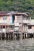 Detail of balcony of wooden stilt house in the Water Village, Kampung Buli Sim Sim, Sandakan, Sabah