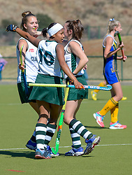 Clarendon celebrating their first goal during day one of the FNB Private Wealth Super 12 Hockey Tournament held at Oranje Meisieskool in Bloemfontein, South Africa on the 6th August 2016<br /> <br /> Photo by:   Frikkie Kapp / Real Time Images