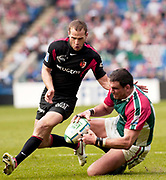 Leicester, Walker Stadium., Leicestershire, 5th April 2004, Heineken Cup, ENGLAND. [Mandatory Credit: Photo  Peter Spurrier/Intersport Images],Heineken Cup, Semi Final, Leicester Tigers vs Stade Toulouse, Walker Stadium, Leicester, ENGLAND: Frederic Michalak [left]  runs in as Martin Johnson slides in to collect the loose ball.
