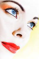 beautiful caucasian woman beauty portrait studio on yellow background