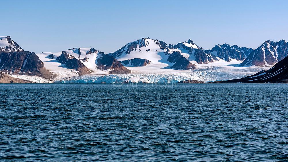 Smeerenburg Glacier at the bottom of Smeerenburg Fjord) (Bjørnfjord) at Albert I Land, north-western Spitsbergen, Svalbard, Norway. Photo from August 2019.