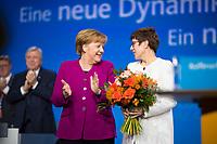 DEU, Deutschland, Germany, Berlin,26.02.2018: Bundeskanzlerin Dr. Angela Merkel (CDU) gratuliert der heute neu gewählten CDU-Generalsekretärin Annegret Kramp-Karrenbauer (CDU) auf dem Parteitag der CDU in der Station. Die Delegierten stimmten mit großer Mehrheit für die neue Generalsekretärin und die Neuauflage der Großen Koalition (GroKo).