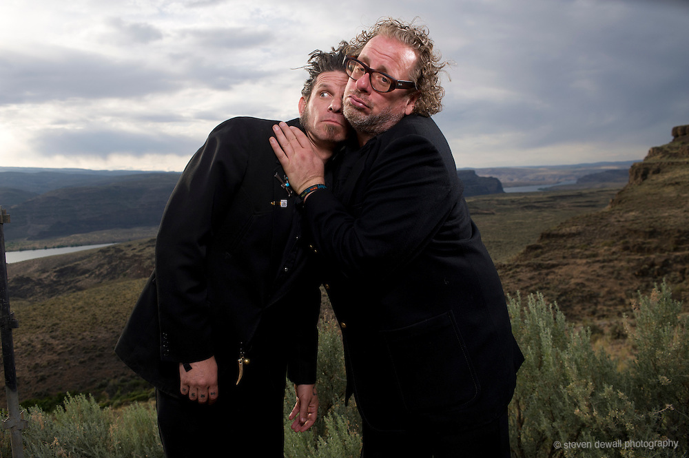 George, WA. - May 25th, 2012 Sean Wheeler & Zander Schloss pose for a portrait backstage at the Sasquatch Music Festival in George, WA. United States