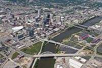 Downtown Nashville Skyline including construction on the Music City Center, the Cumberland River and LP Field.