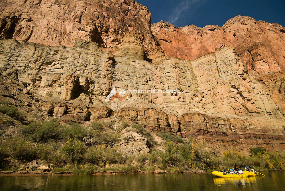 Rafting the scenic Colorado River during autumn in the Grand Canyon National Park, Arizona.