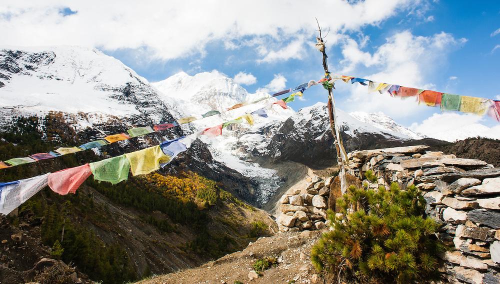 Buddhist flags at the Himalayas (Nepal)