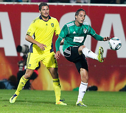28.07.2011, Keine Sorgen Arena, Ried im Innkreis, AUT, UEFA EL Qualifikation, SV Josko Ried vs Brondby IF, im Bild Jan Kristiansen, (Brøndby IF, Defense, #27) und Ivan Carril Regueiro, (SV Josko Ried, #13) // during football match between SV Josko Ried (AUT) and Brondby IF (DEN) 1st Leg of Europa League third Qualifying Round, on July 28, 2011 at Keine Sorgen Arena Ried im Innkreis, Austria. EXPA Pictures © 2011, PhotoCredit: EXPA/ R. Hackl