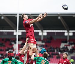 Scarlets' David Bulbring claims the lineout<br /> <br /> Photographer Simon King/Replay Images<br /> <br /> EPCR Champions Cup Round 3 - Scarlets v Benetton Rugby - Saturday 9th December 2017 - Parc y Scarlets - Llanelli<br /> <br /> World Copyright © 2017 Replay Images. All rights reserved. info@replayimages.co.uk - www.replayimages.co.uk