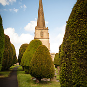 Grounds of the Parish Church of St Mary in Painswick, Gloucestershire, in England's Cotswolds region.