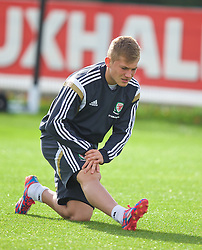 NEWPORT, WALES - Wednesday, October 8, 2014: Wales' George Williams training at Dragon Park National Football Development Centre ahead of the UEFA Euro 2016 qualifying match against Bosnia and Herzegovina. (Pic by David Rawcliffe/Propaganda)