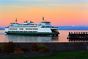 Washington state ferry arriving at Mukilteo ferry terminal