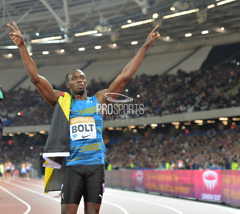Usain Bolt at the Sainsbury's Anniversary Games at the Queen Elizabeth II Olympic Park, London, United Kingdom on 24 July 2015. Photo by Mark Davies.