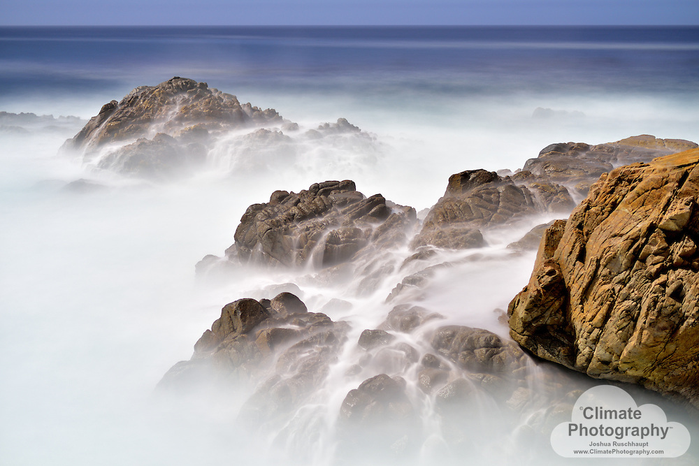 Carmel by the Sea, Coastline by Moonlight #3. This evening was filled by moonlight and ocean spray from these large Pacific Ocean waves.