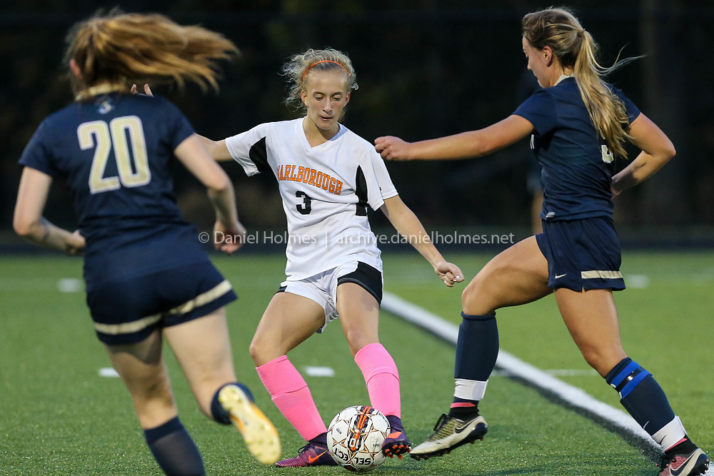 (10/24/17, MARLBOROUGH, MA) Marlborough's Emma Hennessey gets around the defense during the girls soccer game against Shrewsbury at Whitcomb Middle School in Marlborough on Tuesday. [Daily News and Wicked Local Photo/Dan Holmes]