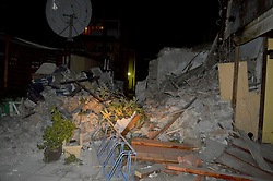 July 21, 2017 - Kos, Greece - Fallen bricks are seen on Kos island after a 6.4-magnitude quake hit the sea area. Two people were killed in a 6.4-magnitude earthquake that jolted the Greek Dodecanese islands in the southeastern Aegean Sea on Friday, national AMNA news agency reported.  (Credit Image: © Giannis Kiaris/Xinhua via ZUMA Wire)