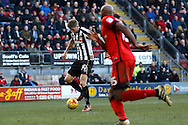Notts County forward Jonathan Stead (30) scores a goal (score 2-3) during the EFL Sky Bet League 2 match between Leyton Orient and Notts County at the Matchroom Stadium, London, England on 18 February 2017. Photo by Andy Walter.