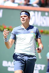 March 16, 2019 - Indian Wells, CA, U.S. - INDIAN WELLS, CA - MARCH 16: Milos Raonic (CAN) reacts after losing a point during the semifinals of the BNP Paribas Open on March 16, 2019, at the Indian Wells Tennis Gardens in Indian Wells, CA. (Photo by Adam Davis/Icon Sportswire) (Credit Image: © Adam Davis/Icon SMI via ZUMA Press)