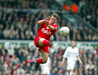 Liverpool's Michael Owen tries to block a kick from Middlesbrough's goalkeeper during the Premiership  match at Anfield, Liverpool, Saturday, February 8th, 2003.<br /><br />Pic by David Rawcliffe/Propaganda<br /><br />Any problems call David Rawcliffe on +44(0)7973 14 2020 or email david@propaganda-photo.com - http://www.propaganda-photo.com