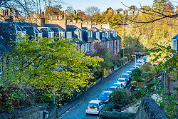 View of traditional colony houses in Stockbridge district of Edinburgh, Scotland, United Kingdom.