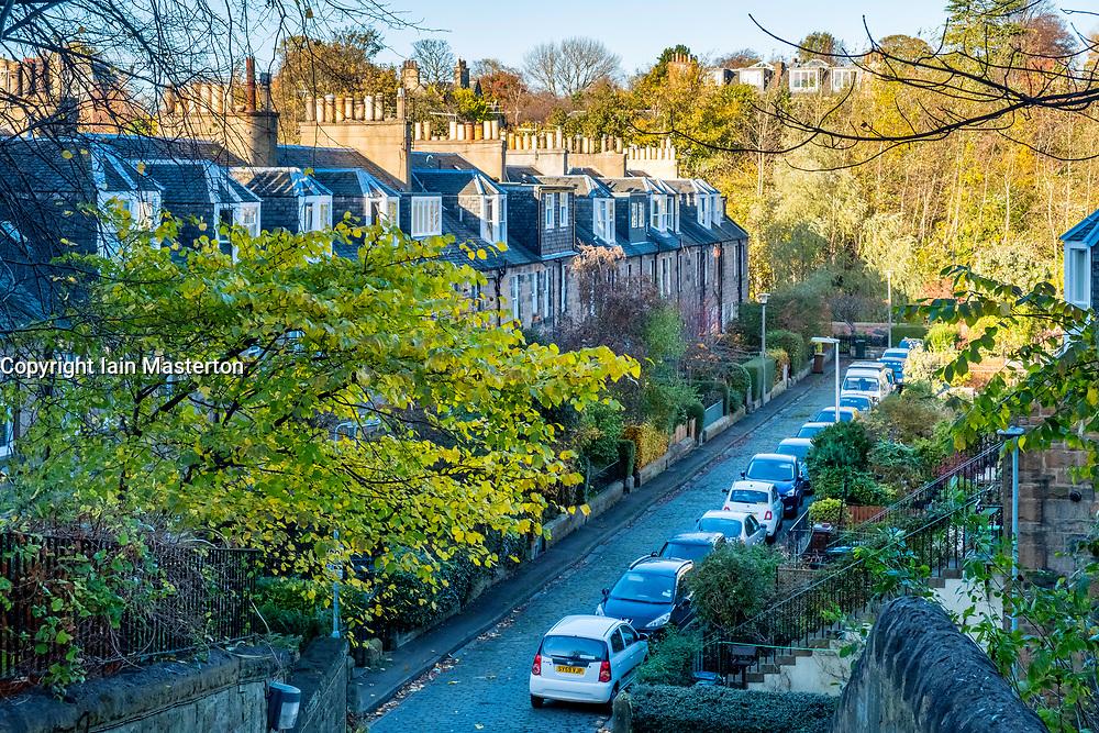 View of traditional colony houses in Stockbridge district of Edinburgh, Scotland, United Kingdom.