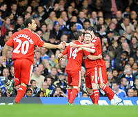 Chelsea/Liverpool Premier League 26.10.08 <br /> Photo: Tim Parker Fotosports International<br /> Xabi Alonso celebrates 1st goal for Liverpool with team mates