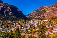 Overview of the town of Ouray, in the San Juan Mountains of southwest Colorado, USA.
