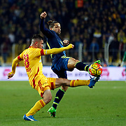 Fenerbahce's Diego (R) during their Turkish super league soccer match Fenerbahce between Kayserispor at the Sukru Saracaoglu stadium in Istanbul Turkey on Sunday 13 March 2016. Photo by Str./TURKPIX