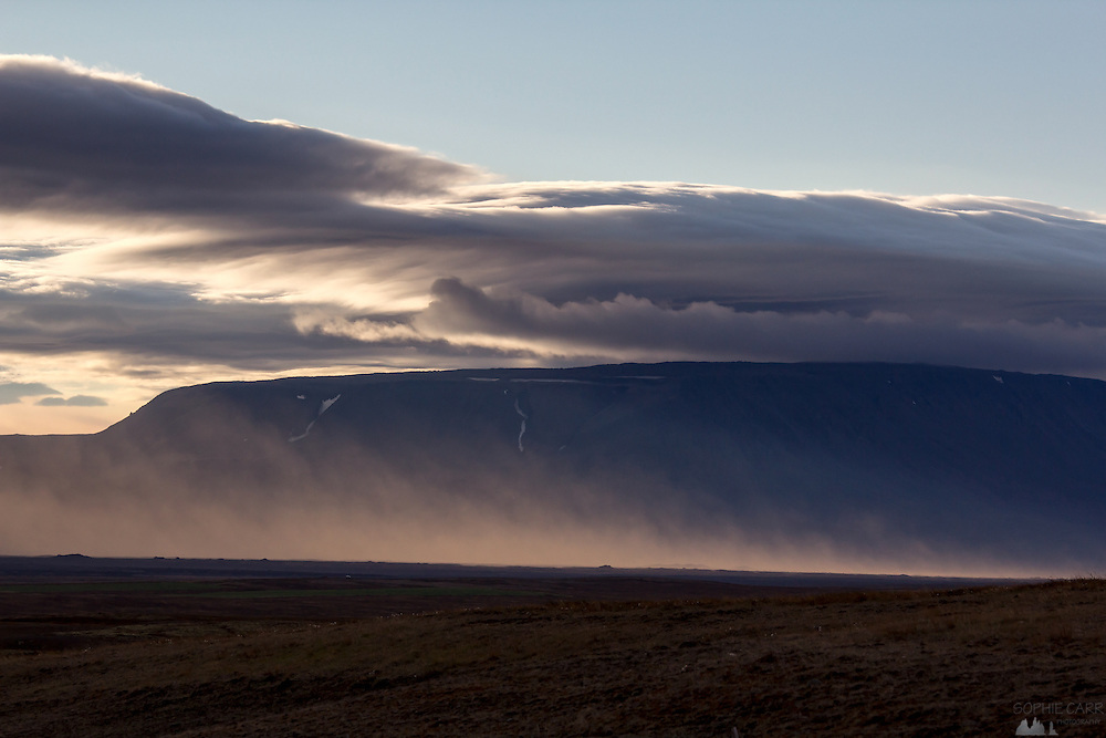 Distant dust storms in northern Iceland, near Dettifoss