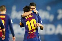 FC Barcelona's Leo Messi (l) and Luis Suarez celebrate goal during La Liga match. January 14,2018. (ALTERPHOTOS/Acero)