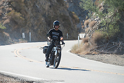 Doug Feinsod of California riding his 1913 Thor up the steep mountain pass just out of Palm Desert on the Palms to Pines Scenic Byway on the last day of the Motorcycle Cannonball Race of the Century. Stage-15 ride from Palm Desert, CA to Carlsbad, CA. USA. Sunday September 25, 2016. Photography ©2016 Michael Lichter.
