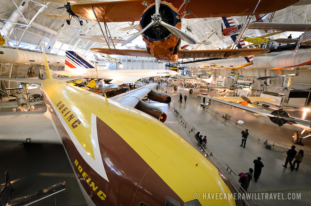 A Boeing aircraft and Concorde, along with other planes, on display at the Smithsonian National Air and Space Museum's Udvar-Hazy Center, a large hangar facility at Chantilly, Virginia, next to Dulles Airport and just outside Washington DC.