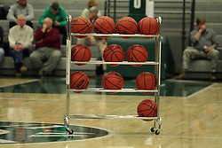 17 November 2015:  Rack of basketballs waiting for warm-ups. during an NCAA men's division 3 CCIW basketball game between the Greenville College Panthers and the Illinois Wesleyan Titans in Shirk Center, Bloomington IL