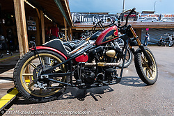 A Nick Pensabene custom Harley-Davidson Shovelhead in the Broken Spoke area of the Sturgis Iron Horse Saloon during the Sturgis Black Hills Motorcycle Rally. Sturgis, SD, USA. Sunday, August 4, 2019. Photography ©2019 Michael Lichter.