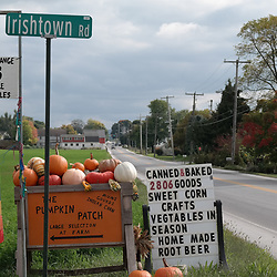 Ronks, PA, USA - October 2, 2014: Signs in Lancaster County advertising items for sale at an Amish farm.