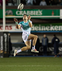 Connacht's Tiernan O'Halloran claims the highball<br /> <br /> Photographer Simon King/Replay Images<br /> <br /> Guinness Pro14 Round 9 - Cardiff Blues v Connacht Rugby - Friday 24th November 2017 - Cardiff Arms Park - Cardiff<br /> <br /> World Copyright © 2017 Replay Images. All rights reserved. info@replayimages.co.uk - www.replayimages.co.uk