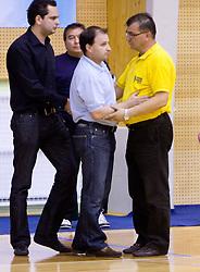 Coach of Kranjska Gora Goran Jovanovic and Zeljko Ciglar of Celje at finals match of Slovenian 1st Women league between KK Hit Kranjska Gora and ZKK Merkur Celje, on May 14, 2009, in Arena Vitranc, Kranjska Gora, Slovenia. Merkur Celje won the third time and became Slovenian National Champion. (Photo by Vid Ponikvar / Sportida)
