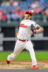 May 22, 2018 - Philadelphia, PA, U.S. - PHILADELPHIA, PA - MAY 22: Philadelphia Phillies starting pitcher Vince Velasquez (28) winds up to throw during the MLB game between the Atlanta Braves and the Philadelphia Phillies on May 22, 2018 at Citizens Bank Park in Philadelphia PA. (Photo by Gavin Baker/Icon Sportswire) (Credit Image: © Gavin Baker/Icon SMI via ZUMA Press)