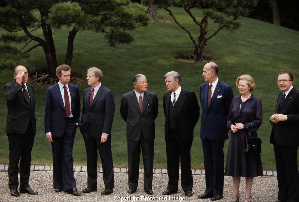 President Jimmy Carter poses in the group picture at the Economic summit in July 1979<br /> <br /> Photograph by Dennis Brack<br /> bb45