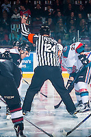 KELOWNA, CANADA - FEBRUARY 10: Referee Ward Pateman stands at centre ice and drops the puck between the Kelowna Rockets and the Vancouver Giants on February 10, 2017 at Prospera Place in Kelowna, British Columbia, Canada.  (Photo by Marissa Baecker/Shoot the Breeze)  *** Local Caption ***