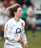 29 Feb 2010 Esher, Surrey: Katherine Merchant of England looks on during the Women's Six Nations game between England and Ireland at Esher Rugby Club (photo by Andrew Tobin/SLIK images)