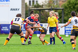 Jessie Hood of Bristol Ladies is tackled by Claire Purdy of Wasps Ladies - Mandatory by-line: Craig Thomas/JMP - 28/10/2017 - RUGBY - Cleve RFC - Bristol, England - Bristol Ladies v Wasps Ladies - Tyrrells Premier 15s