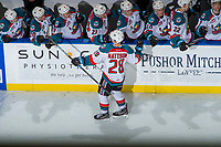 KELOWNA, CANADA - DECEMBER 30: Leif Mattson #28 of the Kelowna Rockets celebrates a shoot out goal as he skates past the bench for fist bumps against the Victoria Royals on December 30, 2017 at Prospera Place in Kelowna, British Columbia, Canada.  (Photo by Marissa Baecker/Shoot the Breeze)  *** Local Caption ***
