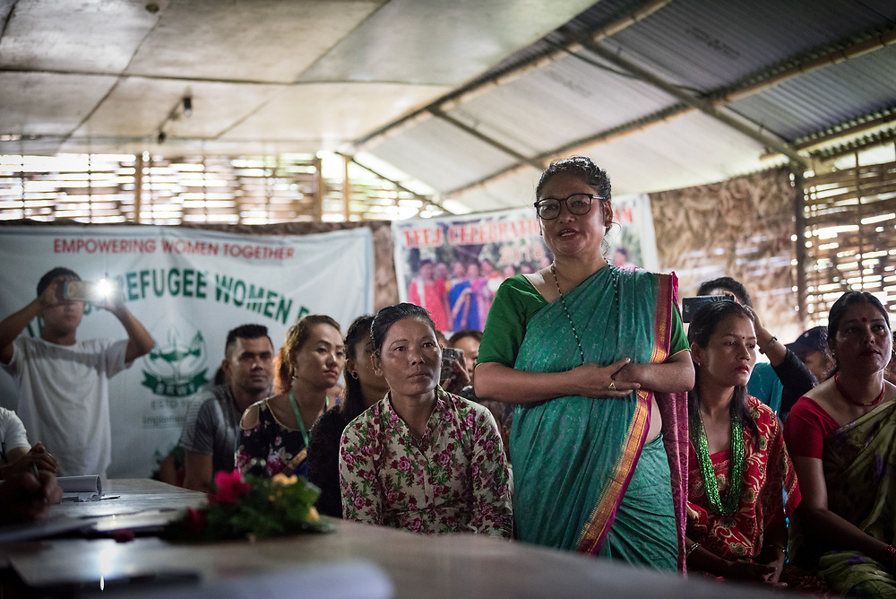 14 September 2018, Damak, Nepal:  Supported by the Lutheran World Federation, the Beldangi refugee camp in the Jhapa district of Nepal hosts more than 5,000 Bhutanese refugees. Here, a woman welcomes LWF general secretary Rev. Dr Martin Junge as he visits the camp.