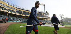 February 15, 2018 - Lake Buena Vista, FL, USA - Braves outfielder Ronald Acuna, rated the consensus No. 1 prospect in baseball this winter by several experts, walks to batting practice arriving early and ready to prove it's his time on Thursday, Feb. 15, 2018, at the ESPN Wide World of Sports Complex in Lake Buena Vista, Fla. (Credit Image: © Curtis Compton/TNS via ZUMA Wire)