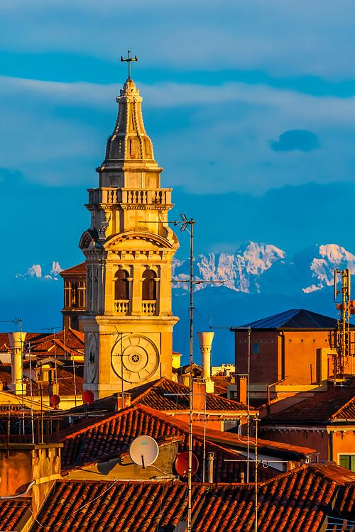 Church tower of Santa Maria Formosa church, Venice, Italy.