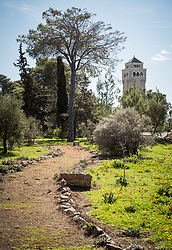 28 February 2020, Jerusalem: The Lutheran World Federation campus, including the Augusta Victoria Hospital campus, is one of few green areas still remaining in East Jerusalem. In the background, the Augusta Victoria Hospital.