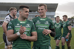 March 2, 2019 - Galway, Ireland - Cian Kelleher and Stephen Fitzgerald both of Connacht celebrate during the Guinness PRO 14 match  between Connacht Rugby and Ospreys at the Sportsground in Galway, Ireland on March 2, 2019  (Credit Image: © Andrew Surma/NurPhoto via ZUMA Press)