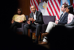 Former President Barack Obama speaks on Monday, April 24, 2017 at the Logan Center for the Arts on the University of Chicago campus. He led a discussion on civic engagement with panelists including Dr. Tiffany Brown, a pharmacist, left; Max Freedman, of the University of Chicago, second right; and Ayanna Watkins, a senior at Kenwood Academy High School. Photo by Zbigniew Bzdak/Chicago Tribune/TNS/ABACAPRESS.COM