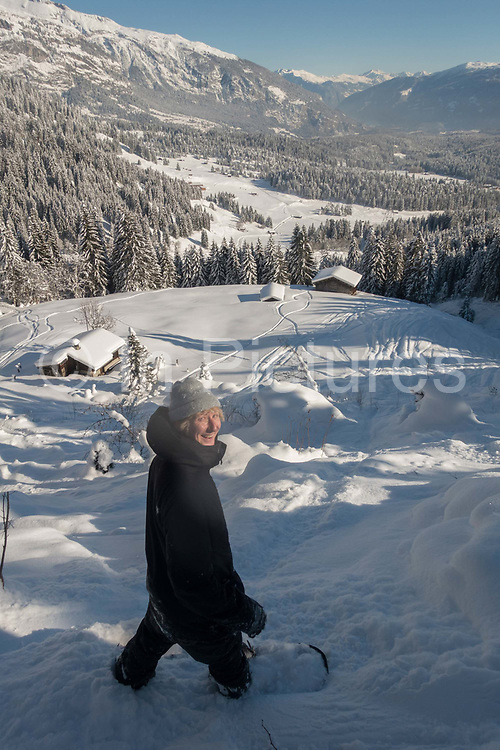 British freestyle snowboard coach Jack Shackleton snowboarding in the Swiss backcountry on 19th January 2017 in Laax Ski Resort, Switzerland.