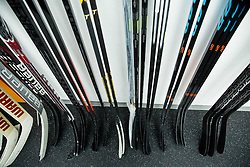 Sticks after the practice session of Slovenian Men's National Ice Hockey Team before EIHC tournament 2015 in Wien, on February 3, 2015 in Ledna dvorana, Bled, Slovenia. Photo by Vid Ponikvar / Sportida